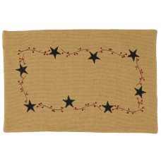 Placemats Fused - Burlap Berry with Star