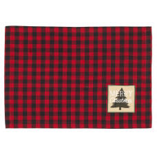 Placemats Fabric - Buffalo Red plaid Merry Christmas