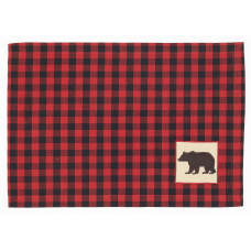 Placemats Fabric - Buffalo Red with Bear Emb.