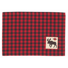 Placemats Fabric - Buffalo Red plaid with Moose & Maple Leaf