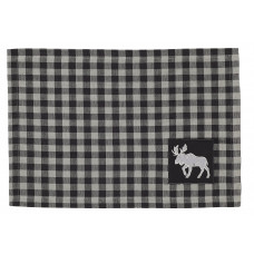 Placemats Fabric - Buffalo Grey Plaid with Moose