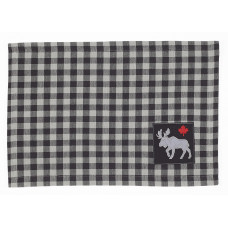 Placemats Fabric - Buffalo Grey Plaid w/ Moose & Maple Leaf
