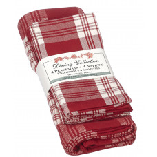 Placemats 4 + 4 Napkins Set - Stone Red Plaid