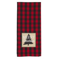 Tea Towels Pattern - Buffalo Red with Merry Christmas