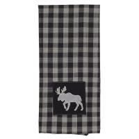 Tea Towels Pattern - Buffalo Grey Plaid with Moose