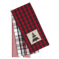 3 Pc. Tea Towels Set - Buffalo Red with Merry Christmas