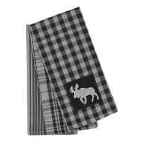 3 Pc. Tea Towels Set - Buffalo Grey Plaid with Moose