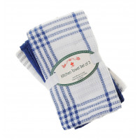 3 Pc. Tea Towels Set - Navy Plaid Waffle