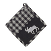 Pot Holder - Buffalo Grey Plaid with Moose