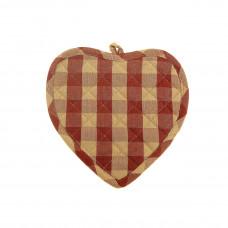 Pot Holder Heart - Burgundy Check