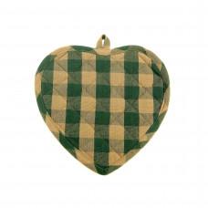 Pot Holder Heart - Green Check