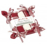 Bread Basket Set - Stone Red Plaid