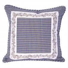 Zip Cushion Cover - Berryvine Navy Check