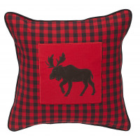 Zip Cushion Cover - Buffalo Red Plaid with Moose