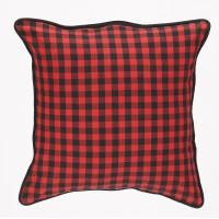 Zip Cushion Cover - Buffalo Red Plaid (No Emb. Patch)