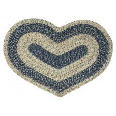 Braided Heart Rug - Sand Blue