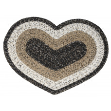 Braided Heart Rug - Black Haze