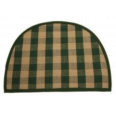 Floor Mat - 'D' Shape - Beige/Green Check