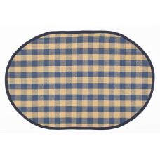Floor Mat - Beige/ Navy Check (Oval)
