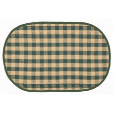 Floor Mat - Beige/ Green Check (Oval)