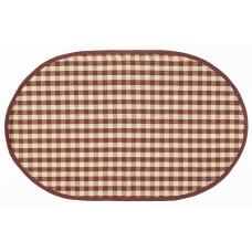 Floor Mat - Berry Burgundy Check (Oval)
